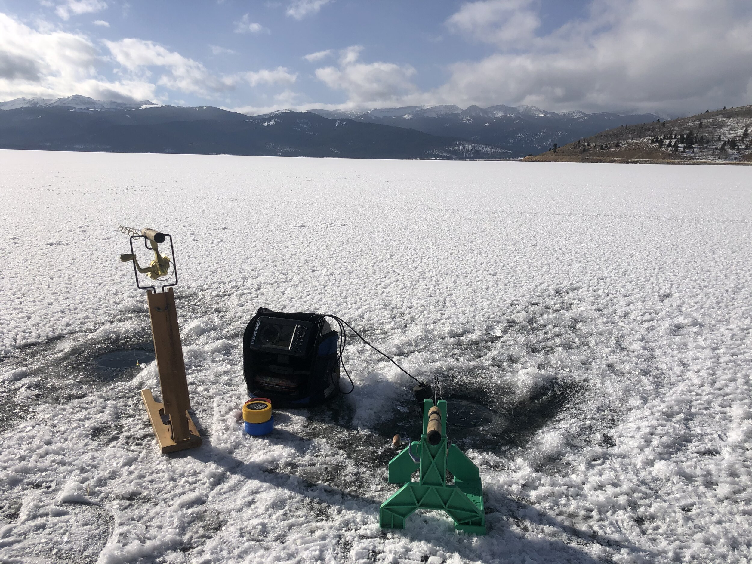 Ice Fishing on Hebgen Lake Montana Guided by madison adventures